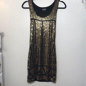 Sleeveless gold sequin mini dress, small